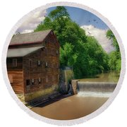 Pine Creek Gristmill Round Beach Towel