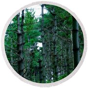 Pine Forest Round Beach Towel