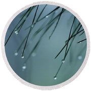 Pine Needle Raindrops Round Beach Towel