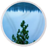 Pine On The River Round Beach Towel