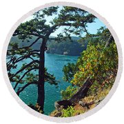 Pine Over The Bay Round Beach Towel