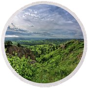 Pine Ridge Nebraska Round Beach Towel