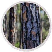 Pine Tree Bark Round Beach Towel