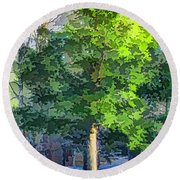 Pine Tree Forest Round Beach Towel