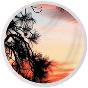 Pine Tree Silhouette Round Beach Towel