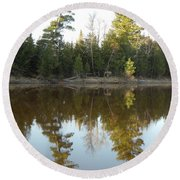 Pine Trees Across Mississippi River Round Beach Towel