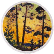 Pine Trees At Sunset Round Beach Towel