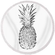 Pineapple Black And White Round Beach Towel