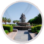 Pineapple Fountain In Charleston Round Beach Towel