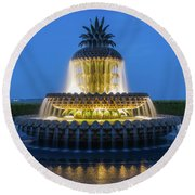 Pineapple Fountain Round Beach Towel
