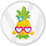 Pineapple Hula Round Beach Towel