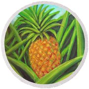 Pineapple Painting #332 Round Beach Towel