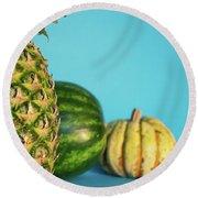 Pineapple, Watermelon, Pumpkin Round Beach Towel
