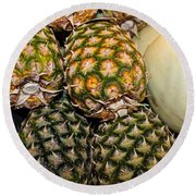 Pineapples And Melons Round Beach Towel