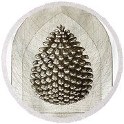 Pinecone Round Beach Towel by Charles Harden
