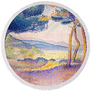 Pines Along The Shore, 1896 Round Beach Towel