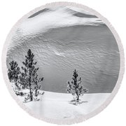 Pines In Snow Drifts Black And White Round Beach Towel