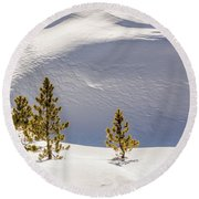 Pines In The Snow Drifts Round Beach Towel