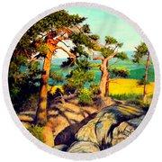 Pines On The Rocks Round Beach Towel