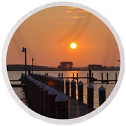 Piney Point Sunrise Round Beach Towel