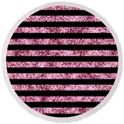 Pink And Black Glitter Sequin Stripes Round Beach Towel