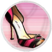 Pink And Black Stripe Shoe Round Beach Towel