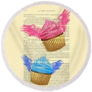 Pink And Blue Cupcakes Vintage Dictionary Art Round Beach Towel
