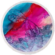 Pink And Blue Dragonflies Round Beach Towel