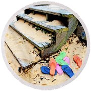 Pink And Blue Flip Flops By The Steps Round Beach Towel