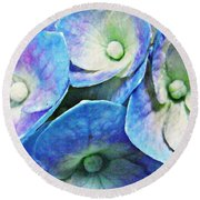 Pink And Blue Hydrangea 5 Round Beach Towel