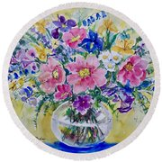 Pink And Blue Round Beach Towel