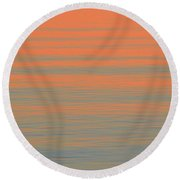 Pink And Blue Light On Waves  Round Beach Towel