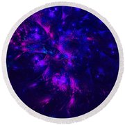 Pink And Blue Moss Fractal Round Beach Towel