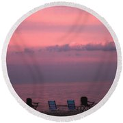 Pink And Deserted Round Beach Towel by Karol Livote