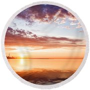 Pink And Gold Morning Zen - Toronto Skyline Impressions Round Beach Towel
