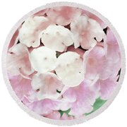 Pink And Green Blossoms Round Beach Towel