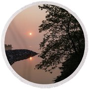 Pink And Green Summer - Soft Misty Sunrise On The Lake Round Beach Towel