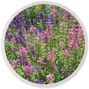 Pink And Lavender Round Beach Towel