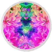 Pink And Lilac Round Beach Towel