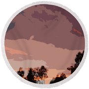 Pink And Mauve Sky Abstract Round Beach Towel