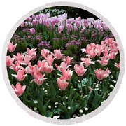 Pink And Mauve Tulips Round Beach Towel
