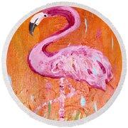 Pink And Orange Flamingo  Round Beach Towel