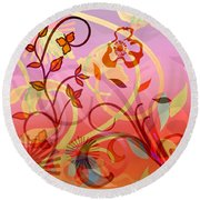 Pink And Purple Flower Medley Round Beach Towel