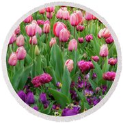 Pink And Purple Tulips At The Spring Floriade Festival Round Beach Towel