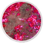 Pink And Red Firecracker Debris Abstract Round Beach Towel