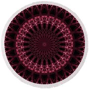 Pink And Red Glowing Mandala Round Beach Towel