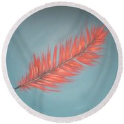 Pink And Teal Feather Round Beach Towel