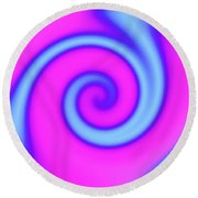 Pink And Turquoise Swirl Abstract Round Beach Towel