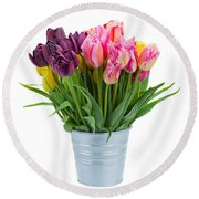 Pink And Violet  Tulips Round Beach Towel