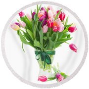 Pink And Violet Tulips Bouquet  Round Beach Towel